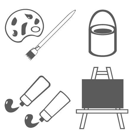 Paint Brush Easel Paint Palette Bucket Tube Illustration Icon