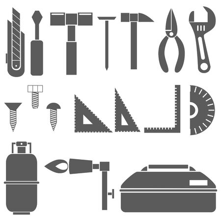 Icon Material Tool Box Driver Pliers Gas Burner Wrench Ruler ScrewNail Gold, etc.