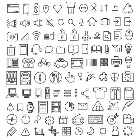 Line drawing icon material illustration smartphone SNS menu shooting sound home notification data etc.