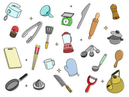 Daily Necessities Illustration Color Chopsticks Gloves Tong Knives Foaming Machine Pepper Mill Noodle Bar Measuring Machine Cutting Board, etc.