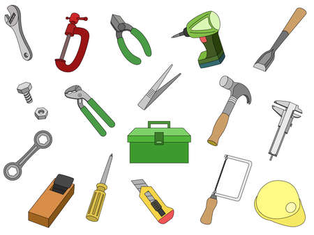 Tool Illustration All-power wrench é'¿ 鉋, metal hammer, nogis electric drill thread saw cutter tool box pentch, etc.  イラスト・ベクター素材
