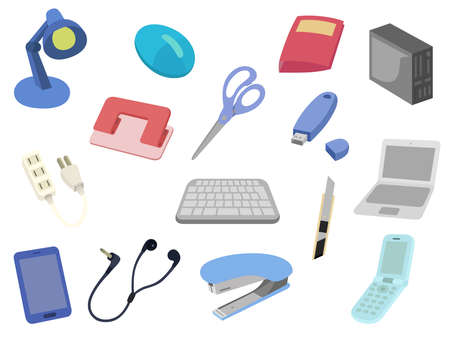 Icon Set Scissors Keyboard PC Smartphone Stapler Cutter Mobile Phone USB etc.