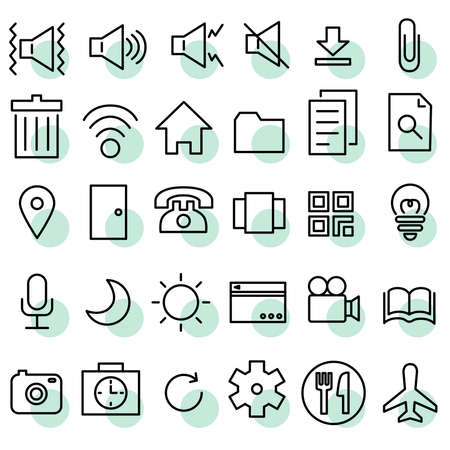 Icon Material Sound File Camera Microphone Settings Travel Meal Dining Out Light Volume Main Telephone Communication etc.  イラスト・ベクター素材