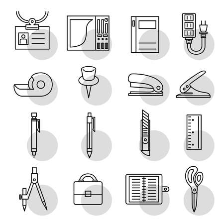 Business Item Icon Material Notebook PC Notebook Extension Code Scissors Drawings Sharp Pencil, etc.