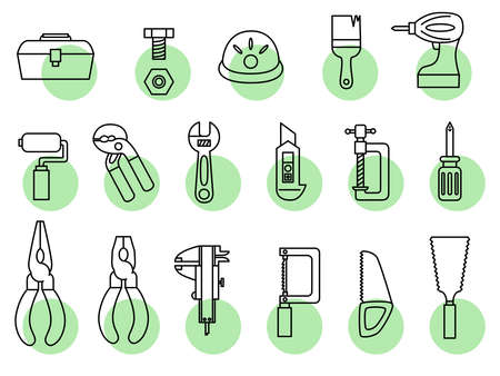 Tool Icon Material Nogisu Yarn Saw Saw Electric Drill Bolt Wrench Cutter Penty V  イラスト・ベクター素材