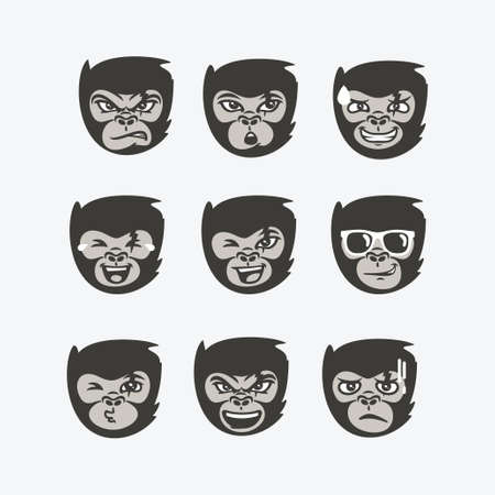 Funny monkey face expression set collection vector character Vector Illustration