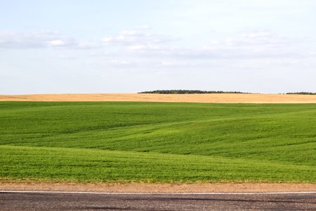 Panorama of beautiful countryside of belarus. Sunny afternoon. Wonderful springtime landscape. Grassy green field with hills. Rural scenery and road circuit