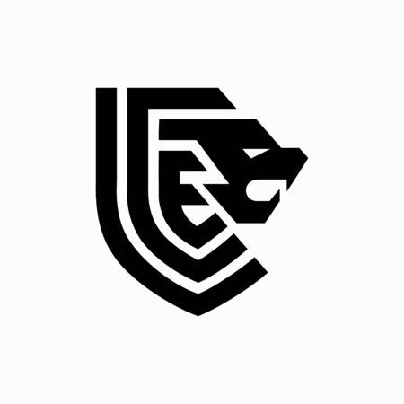 lion head logo with a heraldic concept