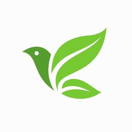 Green leaf formed bird logo template Logo