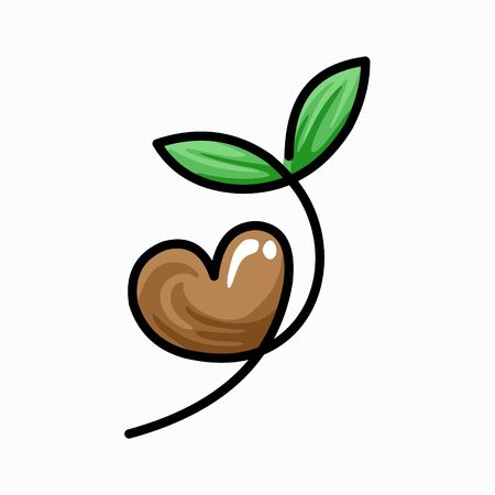 seed plants logo with seeds forming a heart 向量圖像