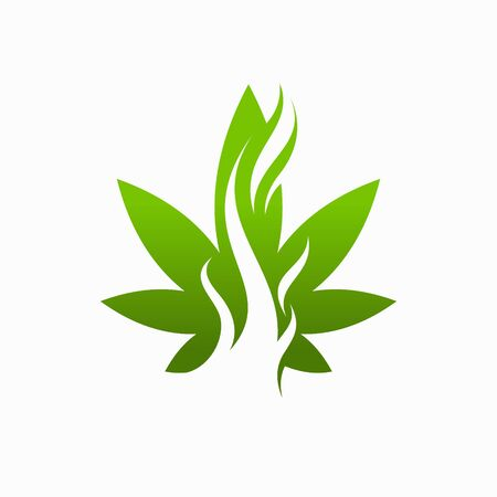 Cannabis logo with smoke concept