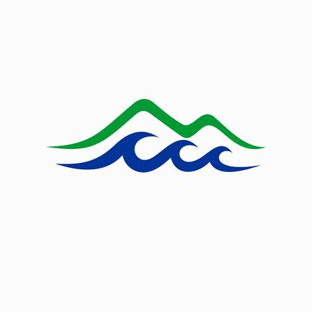 mountain logo accompanied river waves