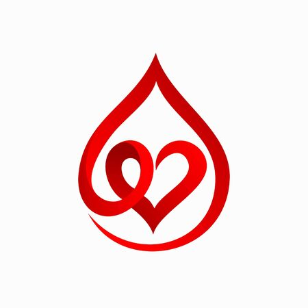 blood logo that formed heart concept 向量圖像