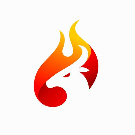 goat logo accompanied blazing fire