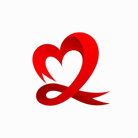 Ribbon logo that formed heart concept