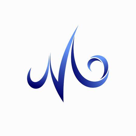 Waves formed letter W logo