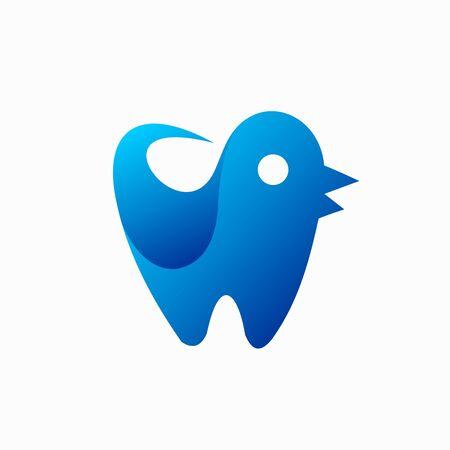 dental logo that formed bird's silhouette