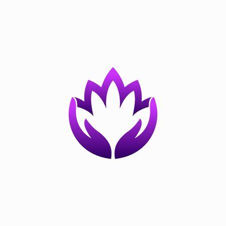 Lotus logo accompanied hand silhouette