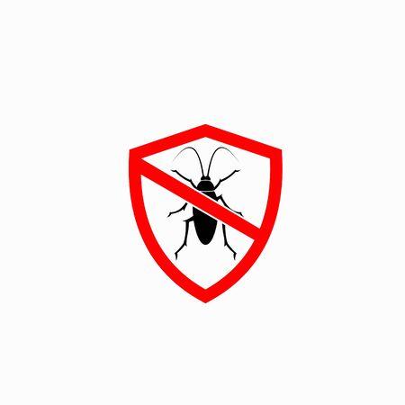 Logotipo de cucaracha acompañado de concepto de escudo. Logos