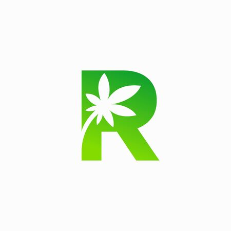 Cannabis leaf logo that formed letter R