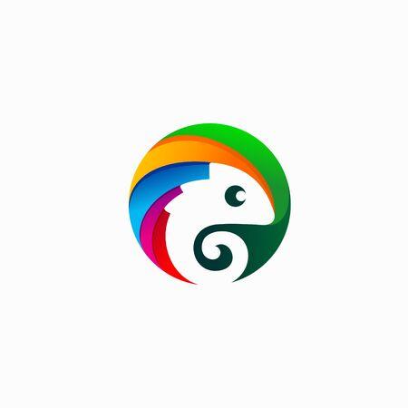 Chameleon logo that formed circle 向量圖像