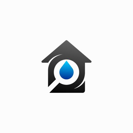 Water droplets logo with house silhouette