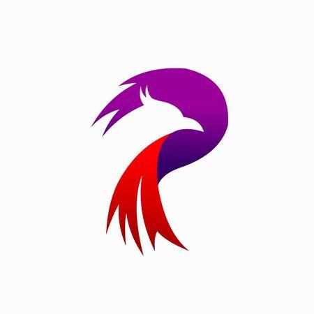 Phoenix Logo that formed letter P 일러스트