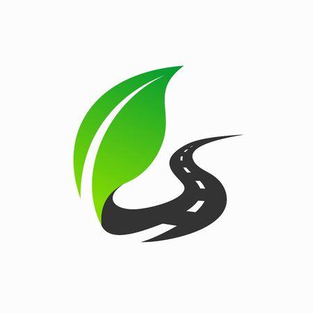 leaf logo that formed road Logo