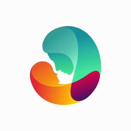 Mom and son logo with gradation concept