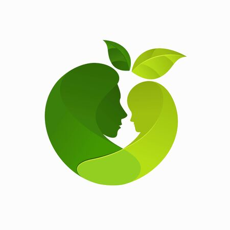 Mom and son logo with nature concept Logo