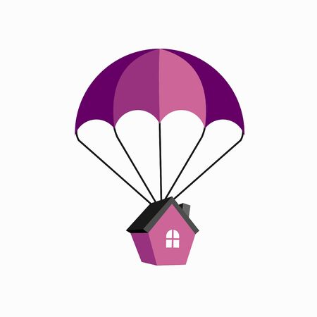 Parachute is carrying a house