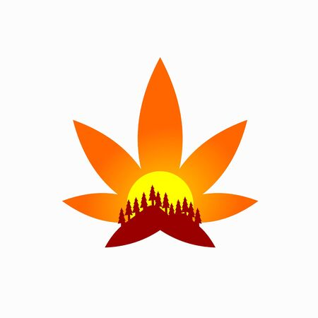 Cannabis logo that formed sunset
