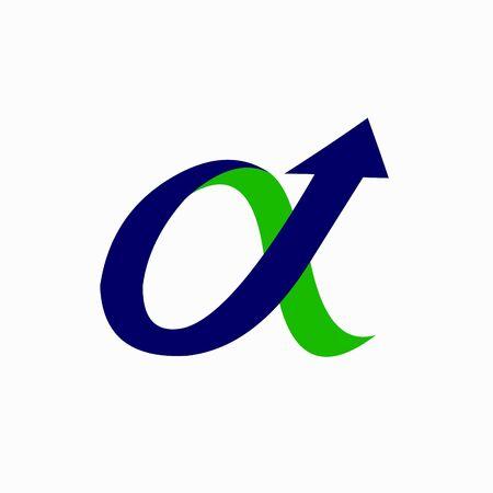 Alpha logo with arrow elements