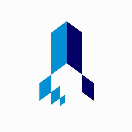 vector abstract arrow flying rocket icon