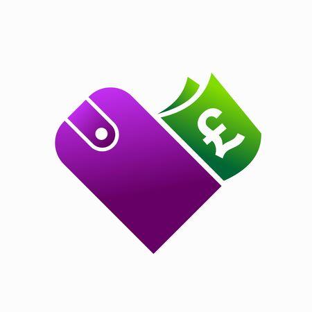 Wallet logo, Euro symbol, love concept