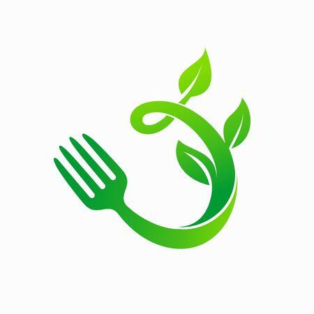vegetarian logo design, food logo, leaf logo design