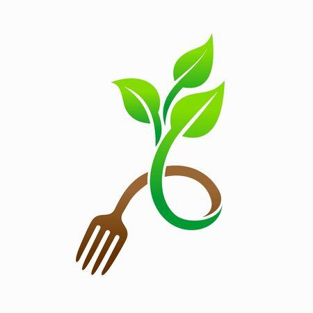 Tree vector logo, food logo, vegetarian logo design