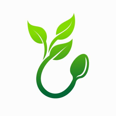 vegetarian logo design, food vector logo Stockfoto - 146749765