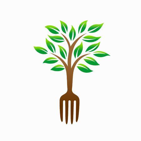 Tree vector logo, food logo design