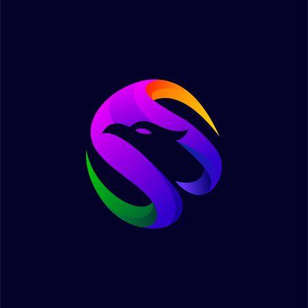 bird abstract vector illustration, bird color logo