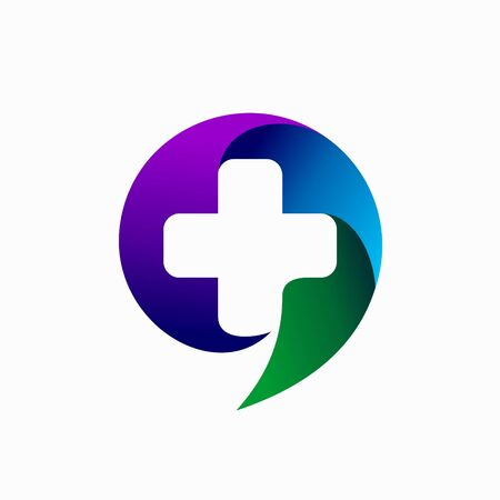 speech bubble logo, hospital logo design