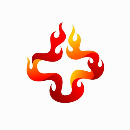 fire vector illustration, hospital logo design
