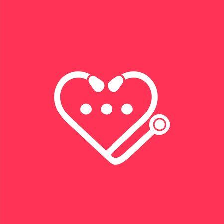 stethoscope vector logo, love logo design Vectores