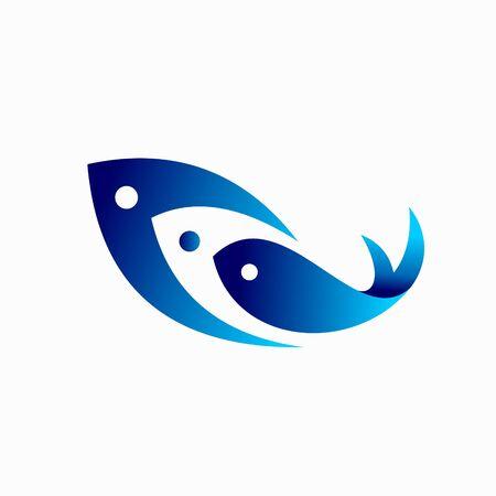 triple fish logo, fish vector logo