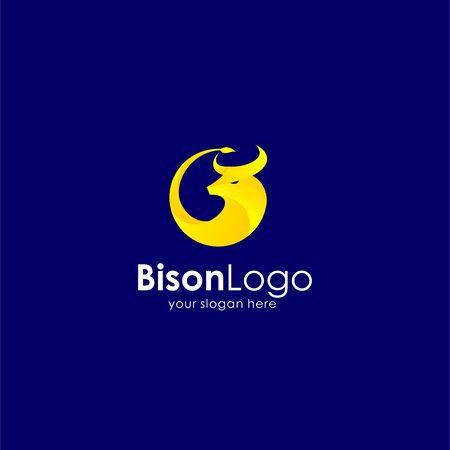 Bison icon logo, bull icon logo