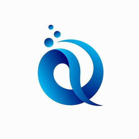 letter Q , water  design illustration  イラスト・ベクター素材
