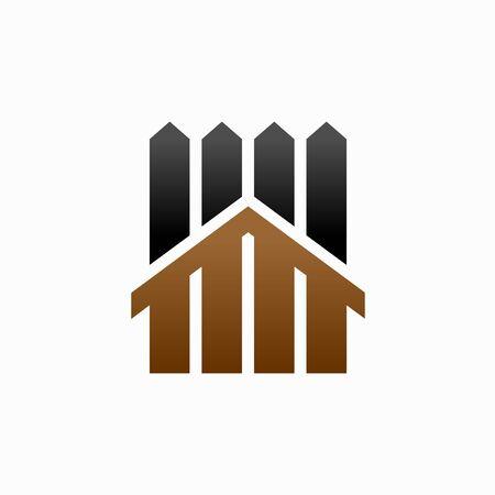 fence  design, wooden house icon illustration Ilustração