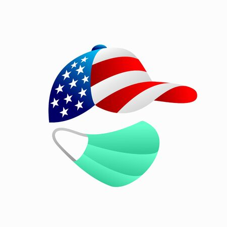 USA flag with hat, medical mask vector