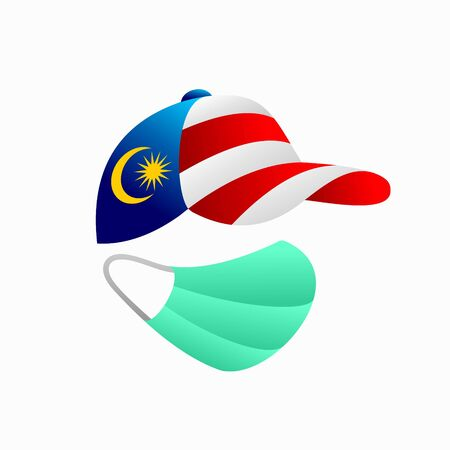 malaysia flag with hat, medical mask vector