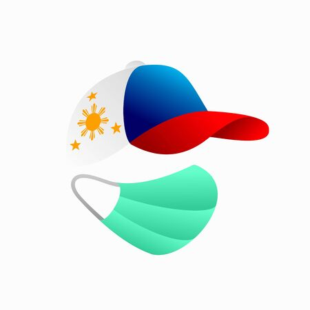philippines flag with hat, medical mask vector